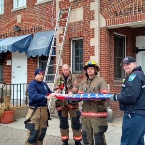 Essex Station 7 Firemen Replace Museum Flag, 2016