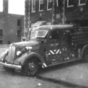 Fire engine at Essex Fire Station, 1957